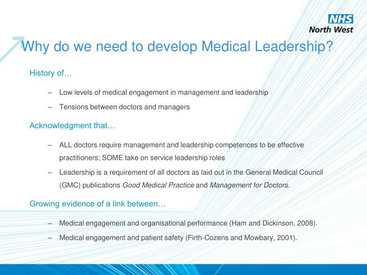 Why do we need to develop Medical Leadership?