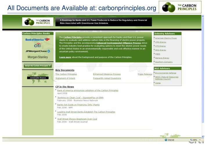 All Documents are Available at: carbonprinciples.org