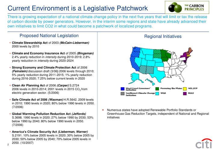 Current environment is a legislative patchwork