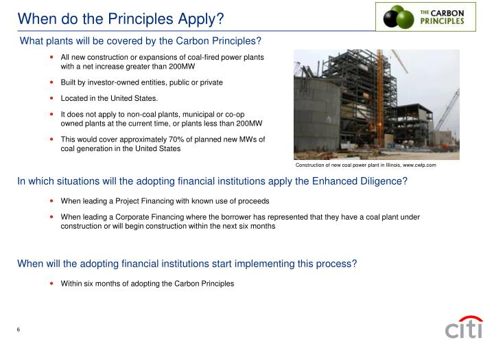 When do the Principles Apply?