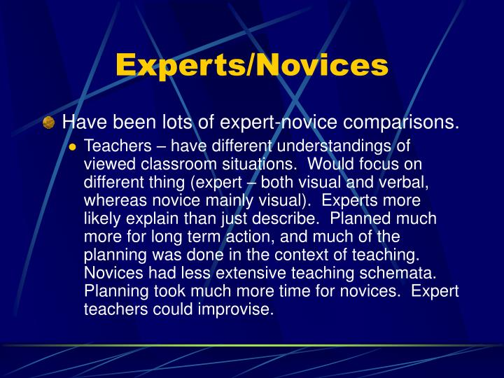 Experts/Novices