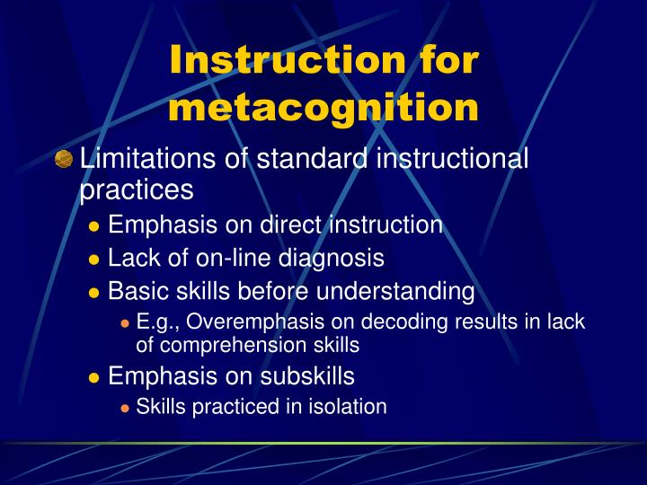 Instruction for metacognition