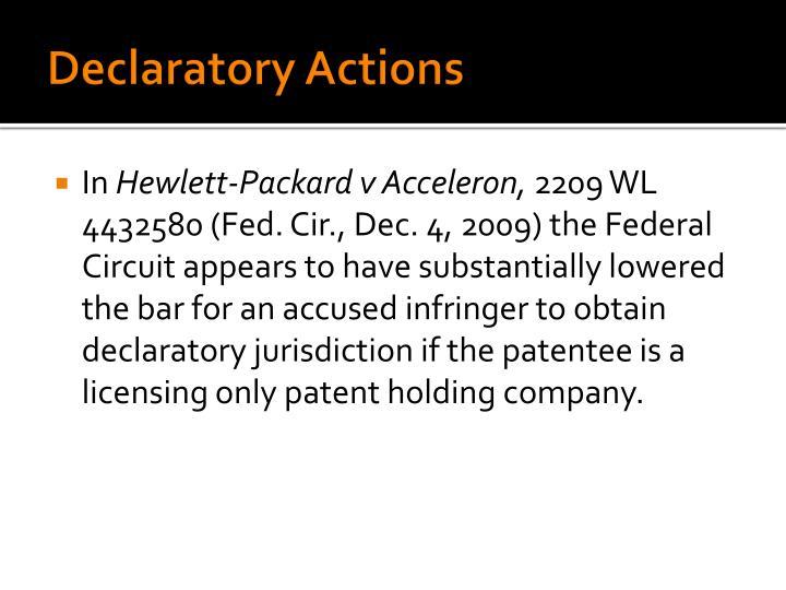Declaratory Actions