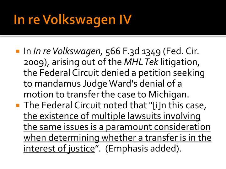 In re Volkswagen IV