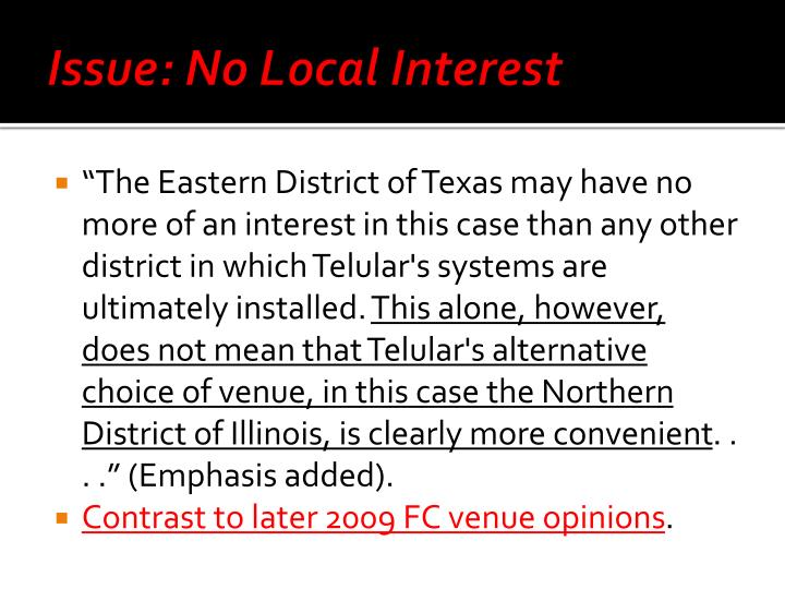 Issue: No Local Interest