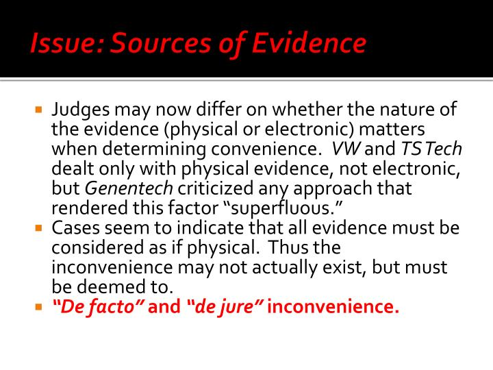 Issue: Sources of Evidence