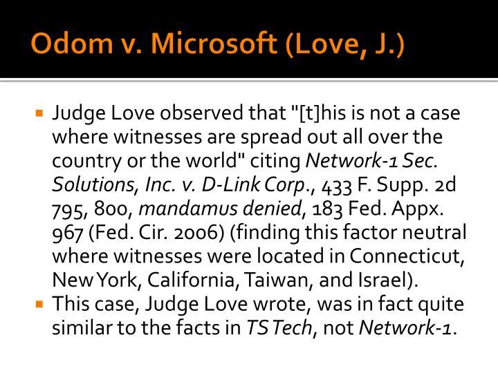 Odom v. Microsoft (Love, J.)
