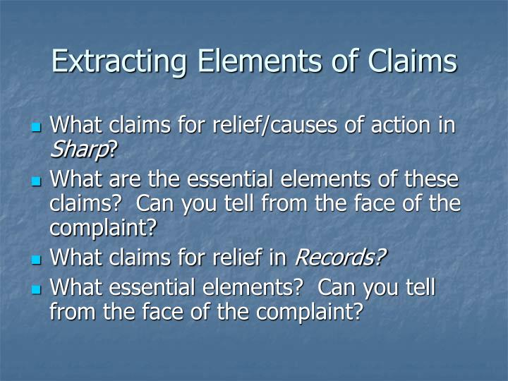 Extracting Elements of Claims