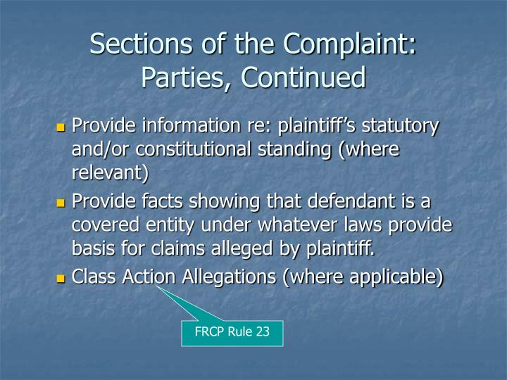 Sections of the Complaint: