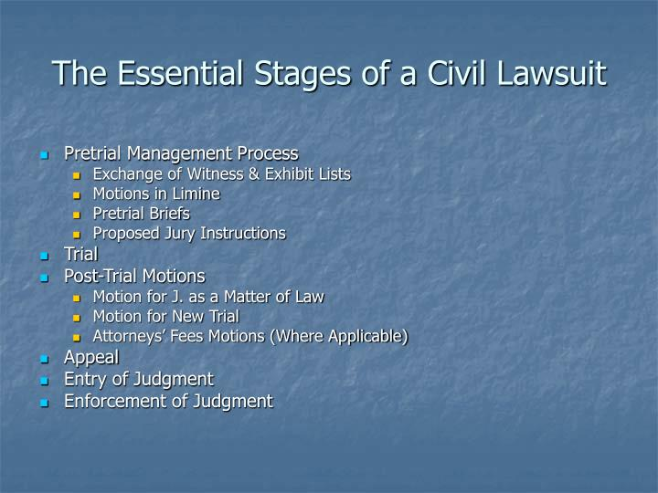 The Essential Stages of a Civil Lawsuit
