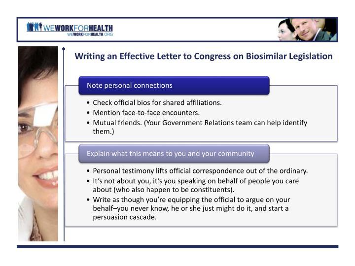 Writing an Effective Letter to Congress on Biosimilar Legislation