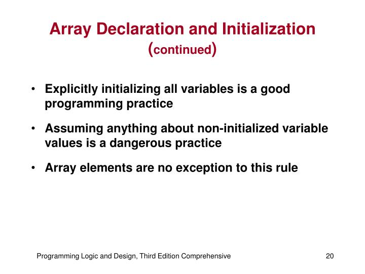 Array Declaration and Initialization (