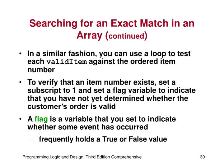 Searching for an Exact Match in an Array (