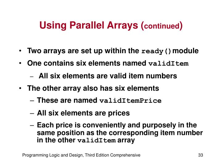 Using Parallel Arrays (