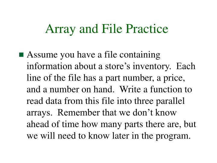 Array and File Practice