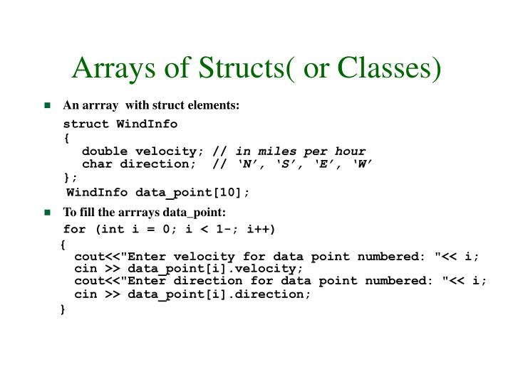 Arrays of Structs( or Classes)