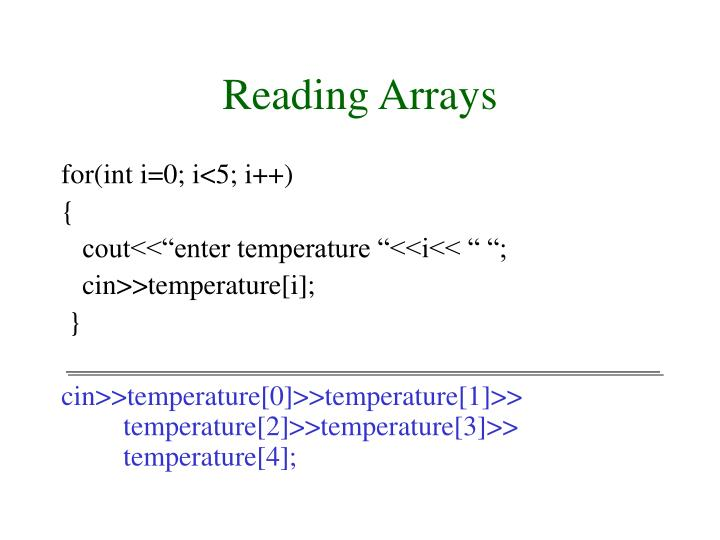 Reading Arrays