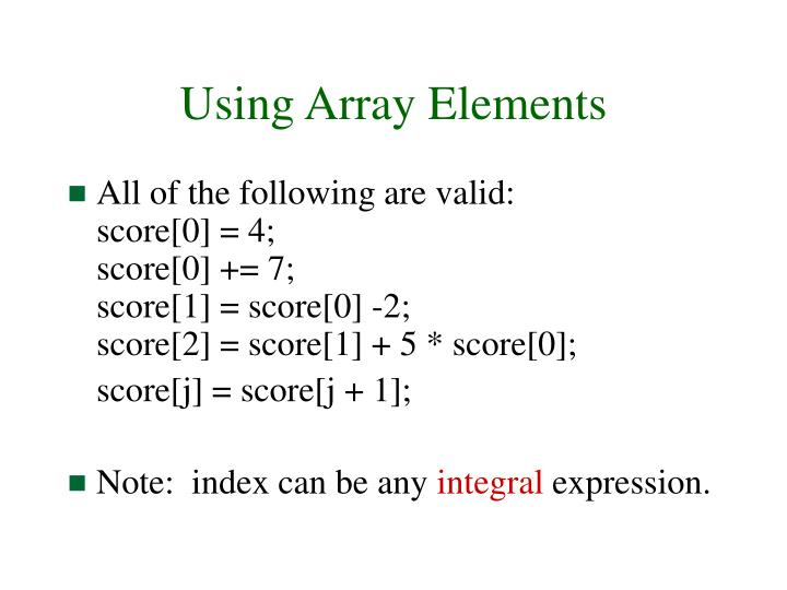 Using Array Elements