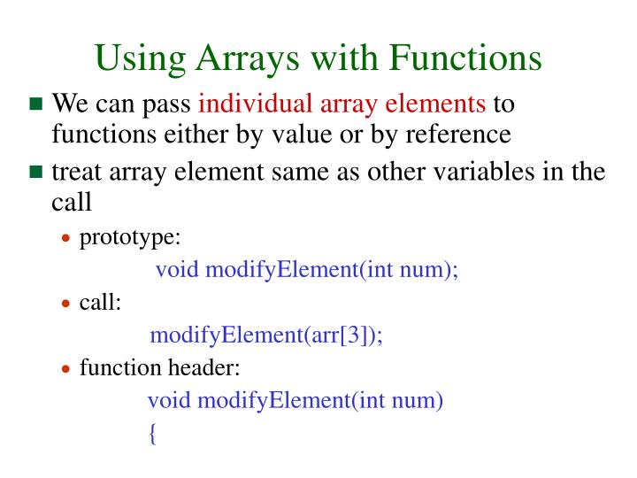 Using Arrays with Functions