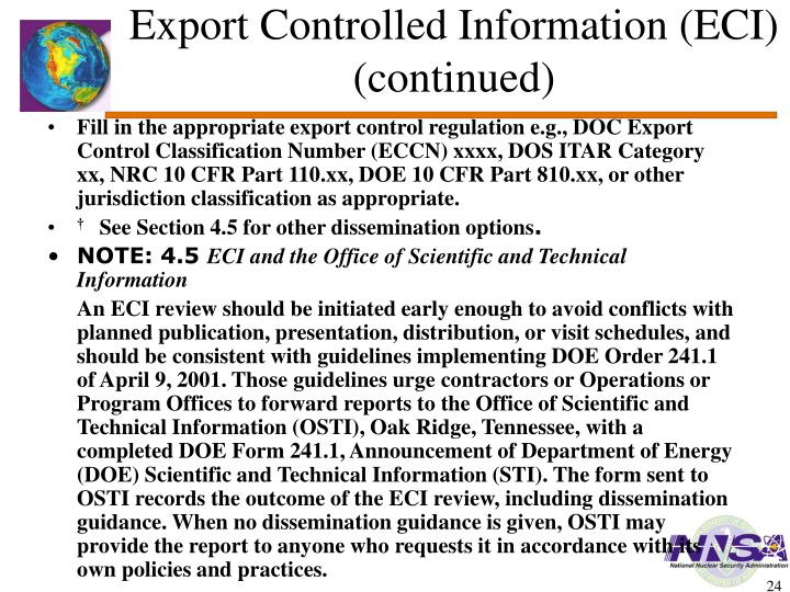 Export Controlled Information (ECI)