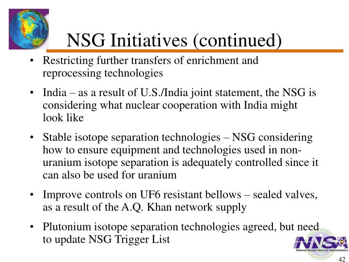 NSG Initiatives (continued)