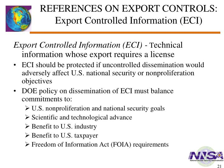 REFERENCES ON EXPORT CONTROLS: Export Controlled Information (ECI)
