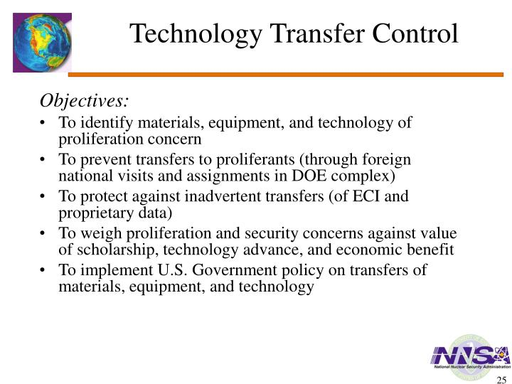 Technology Transfer Control