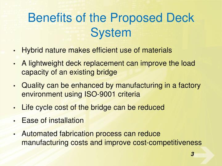 Benefits of the proposed deck system