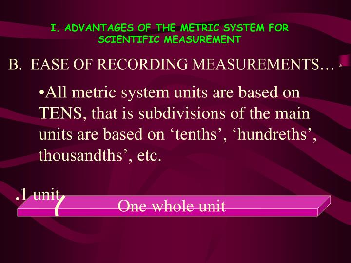 B.  EASE OF RECORDING MEASUREMENTS…