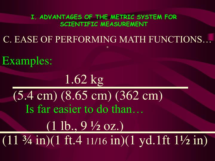 C. EASE OF PERFORMING MATH FUNCTIONS…