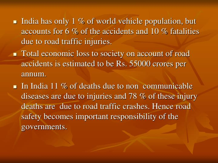 India has only 1 % of world vehicle population, but accounts for 6 % of the accidents and 10 % fatalities due to road traffic injuries.