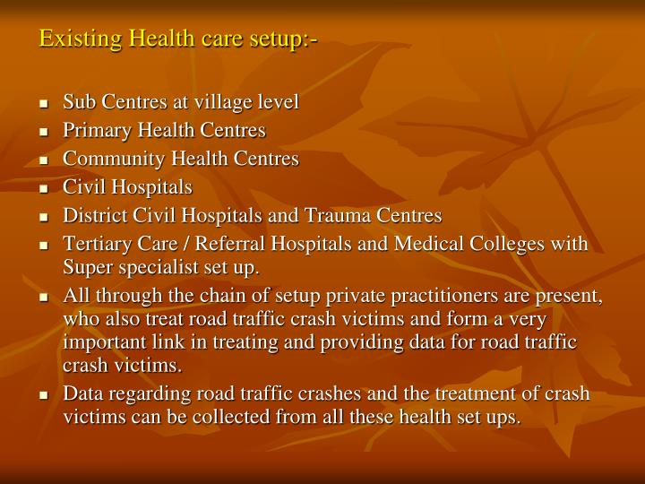Existing Health care setup:-