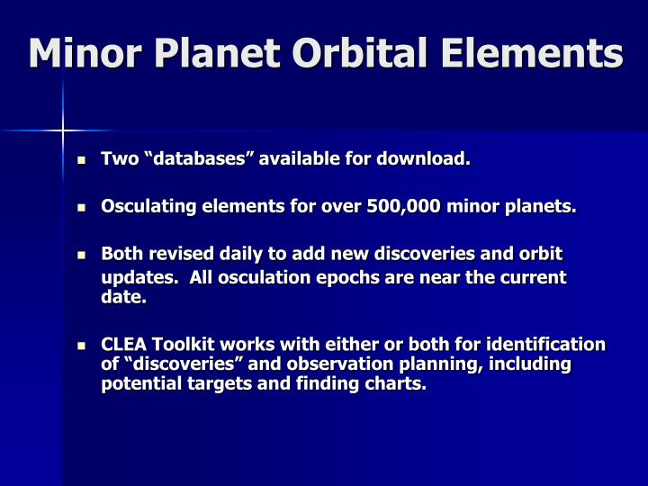 Minor Planet Orbital Elements