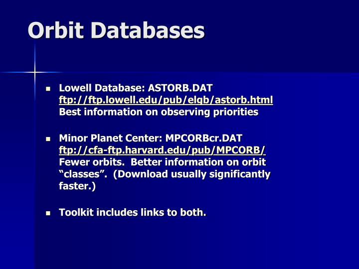 Orbit Databases