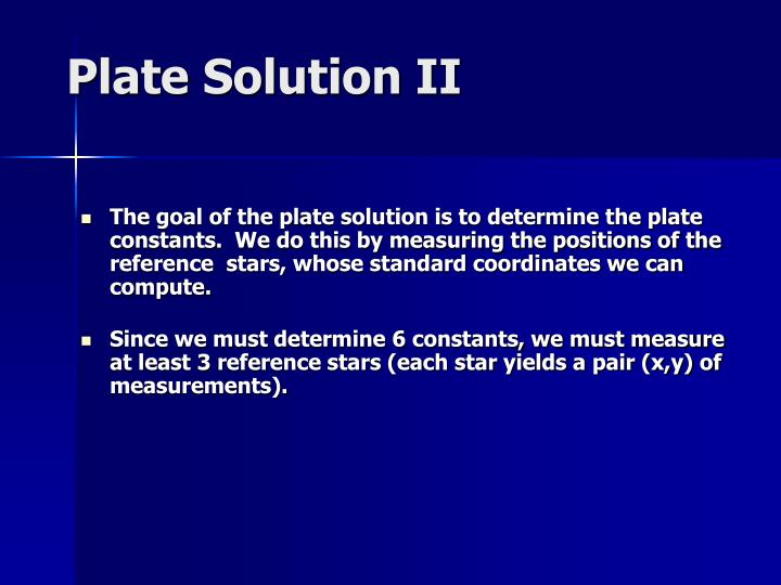 Plate Solution II