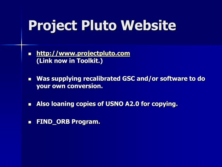 Project Pluto Website