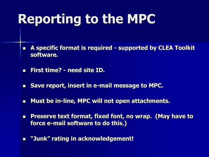 Reporting to the MPC