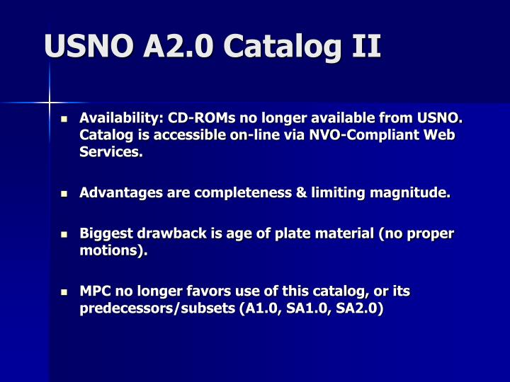 USNO A2.0 Catalog II