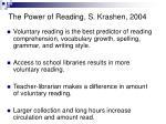 the power of reading s krashen 2004
