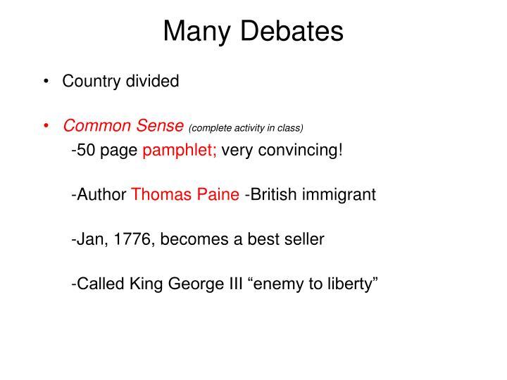 Many Debates
