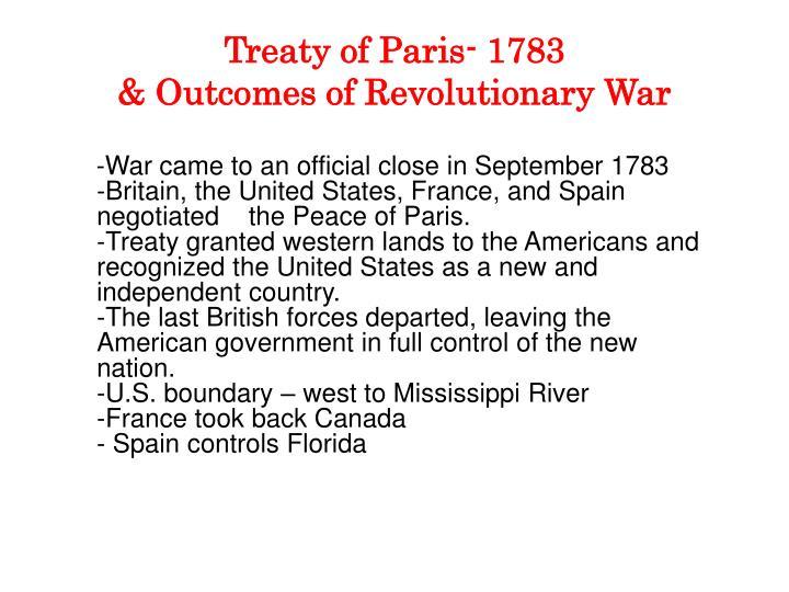 Treaty of Paris- 1783