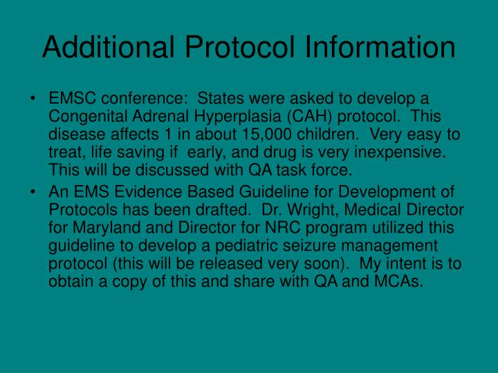 Additional Protocol Information