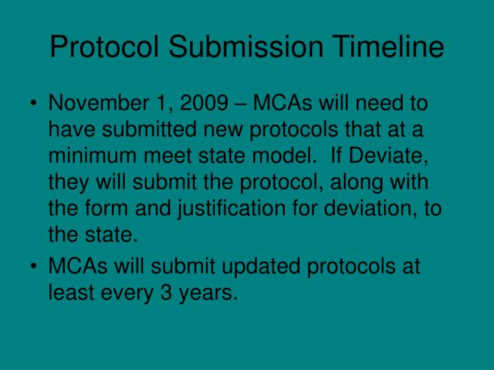 Protocol Submission Timeline