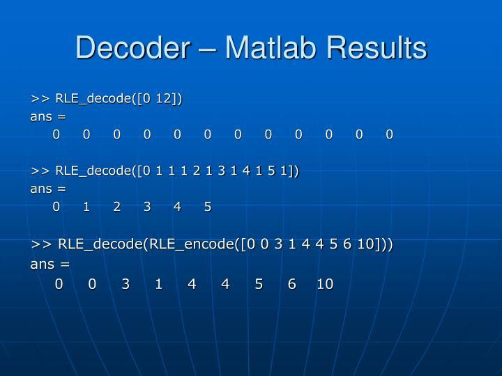 Decoder – Matlab Results