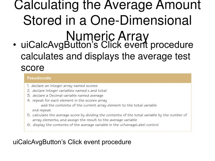 Calculating the Average Amount Stored in a One-Dimensional Numeric Array