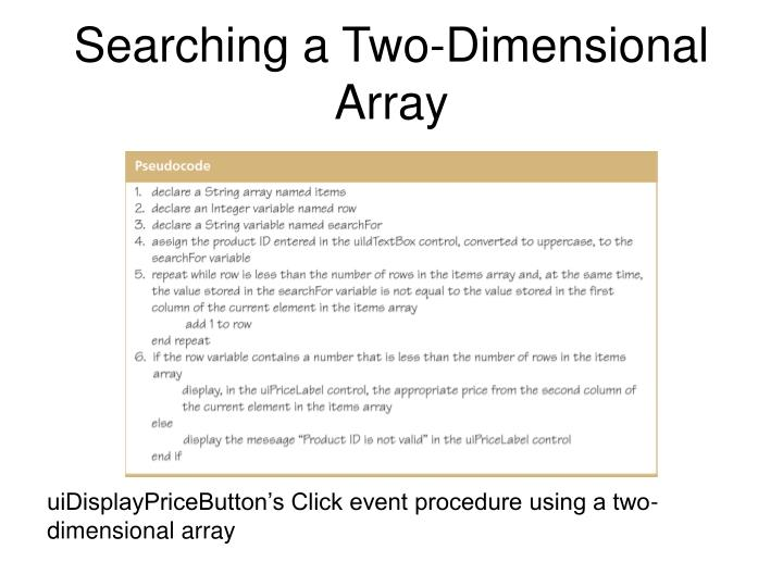 Searching a Two-Dimensional Array