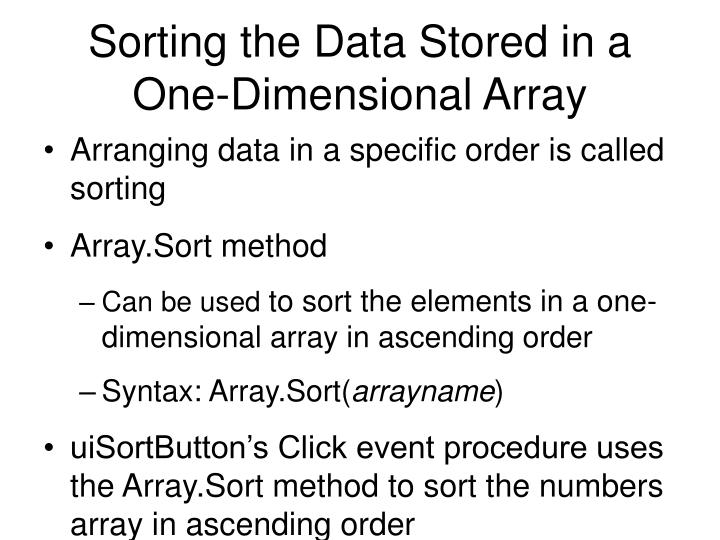Sorting the Data Stored in a One-Dimensional Array