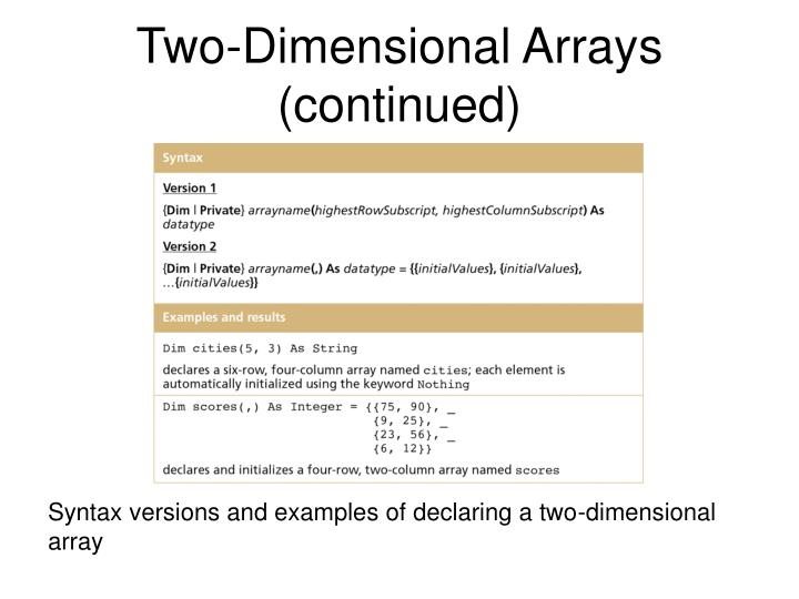 Two-Dimensional Arrays (continued)