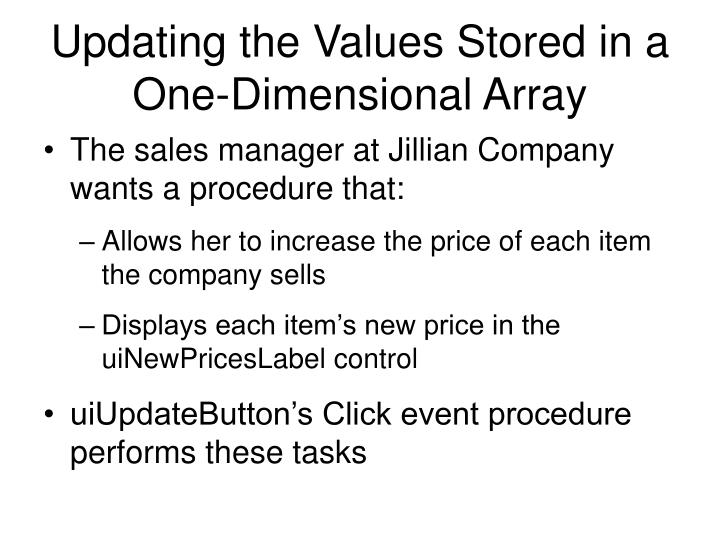 Updating the Values Stored in a One-Dimensional Array