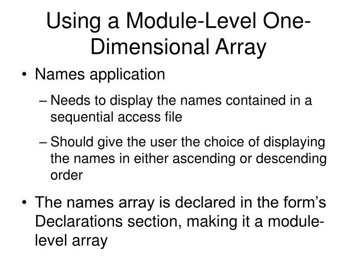 Using a Module-Level One-Dimensional Array